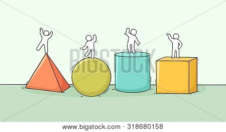 Cartoon Little People With Mathematical Symbols. Doodle Cute Miniature Scenes Of Workers Geomatric F