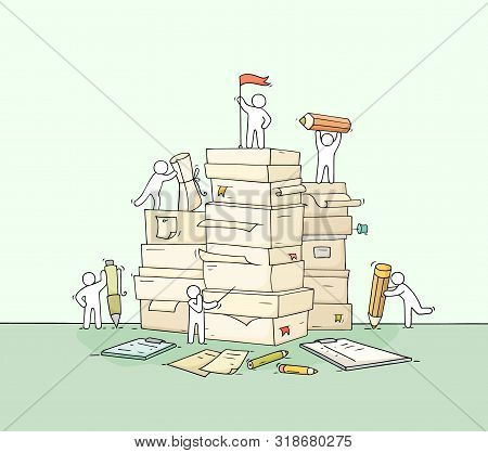 Sketch Of Working Little People With Paper Stack. Doodle Cute Miniature Scene About Paperwork. Hand