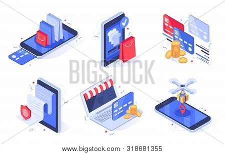 Isometric Online Shopping. Internet Store Business, Digital Commerce And Bank Card Payment. Online C