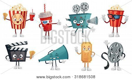 Cartoon Cinema Mascot. Popcorn In 3d Glasses, Funny Movie Film Camera And Cinemas Tickets Characters