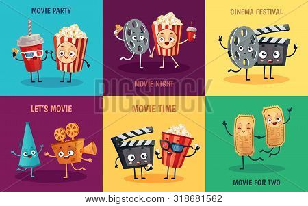 Cartoon Cinema Characters. Funny Popcorn, Cinema Tickets And 3d Movie Glasses Friends Mascots. Cinem