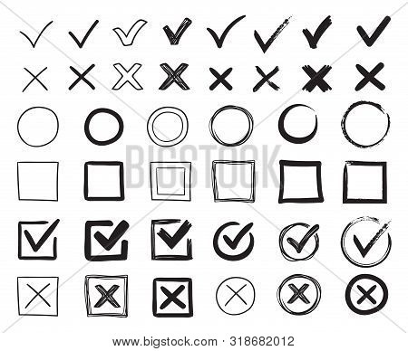 Doodle Check Marks. Hand Drawn Checkbox, Examination Mark And Checklist Marks. Check Signs Sketch, V