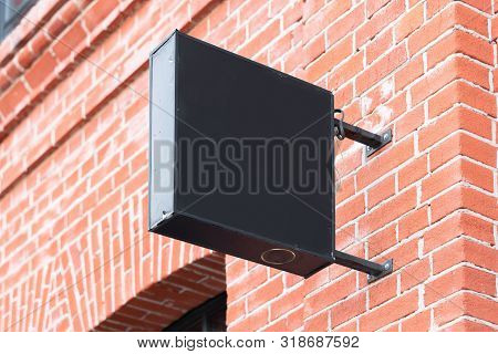 Blank Black Square Store Signboard Mockup. Empty Shop Street Sign, Signage On The Wall. , 3d Renderi