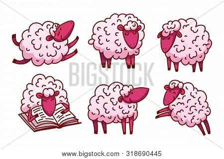 Cute Sleeping Sheeps Vector Illustration. Poster About Sleep. The Concept Of Trying To Sleep, Counti