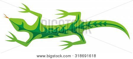 Green Lizard Icon With Tribal Shapes On Body Isolated On White Background.