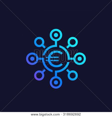 Financial Diversification Icon With Euro, Eps 10 File, Easy To Edit