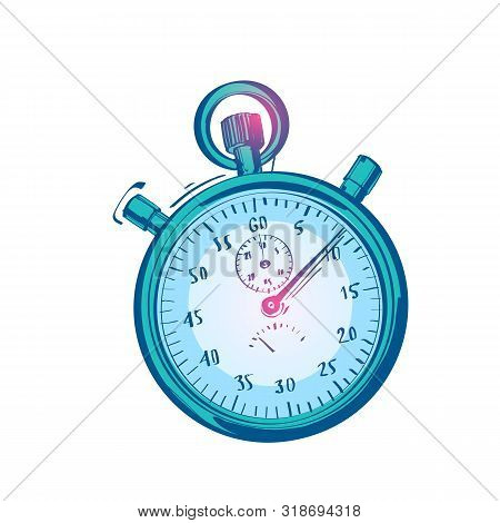 Stopwatch Scetch Design Icon. Timer Isolated On White Background. Handwriting Stopwatch Cartoon Vect
