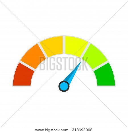 Bright Indicator Spectrum Colored For Interface Credit Score. Vector Credit Indicator Score, Level R