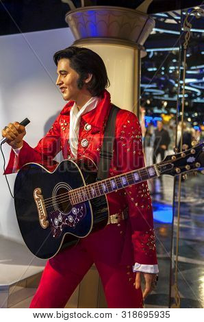 Prague, Czech Republic - December 2018:  Elvis Presley Wax Figure In Madame Tussads Museum