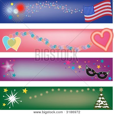 Four Holiday Vector Banners