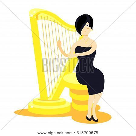 Golden Shiny Standing Harp. Gold Harp. Modern Flat Cartoons Style Vector Illustration Icons. Isolate