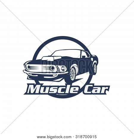 Muscle Car Logo, Emblems, Badges And Icons Isolated On White Background. Service Car Repair, Restora