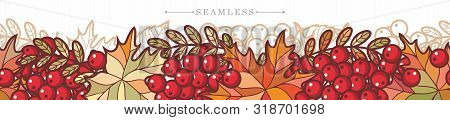 Autumn Fall  Seamless Border. Panoramic Horizontal Border Of Autumn Leaves. Rowan, Ash, Mountain Ash