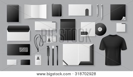 Realistic Black Mockup. Corporate Brand Business Card Letter Stationery Blank 3d Documents Brochures