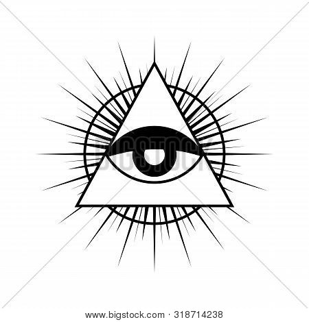 All Seeing Eye Symbol With Triangle. Triangle With Eye, All Seeing Eye, Isolated On White. All Seein