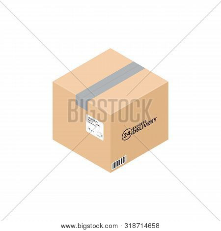 Isometric Carton Box. Express Delivery Carton Box, Isolated On White. Carton Mail Box Ready For Deli