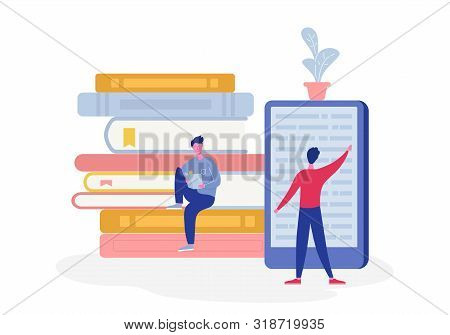 Electronic Online Library Poster With Computer And Books, People Character Reading Or Student Studyi