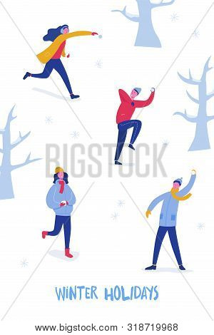 Winter Card Or Poster With Happy People Characters Playing Snowballs. Boys And Girls Throwing Snowba