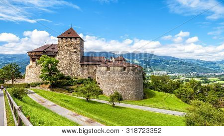 Vaduz Castle In Liechtenstein. This Royal Castle Is A Landmark Of Liechtenstein And Switzerland. Sce