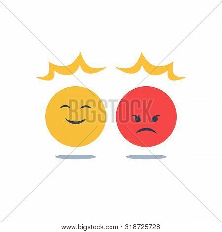 Negative Or Positive Reaction, Good Or Bad Attitude, Bias Thinking, Opposite Social Opinion, Custome