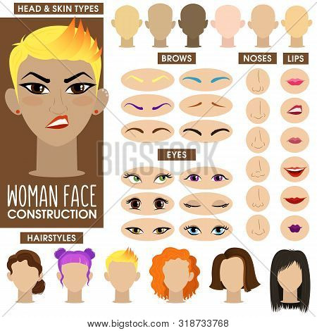 Sassy Girl. Woman Face Constructor. Cartoon Vector Style. Creation Of Spare Parts. Different Hairsty