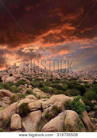 Sunset Texas Canyon In The Sonora Desert In Central Arizona Usa