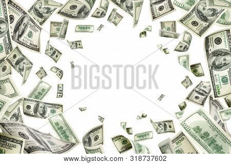 Dollar Sign. American Money. Cash Background, Us Bill. Money Fal