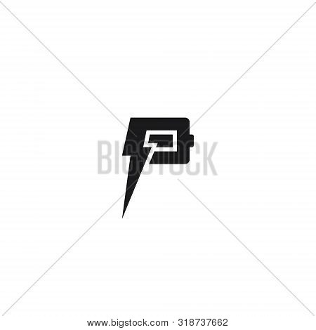 Logo Letter P Battery Power, Concept Letter P + Battery + Electricity.
