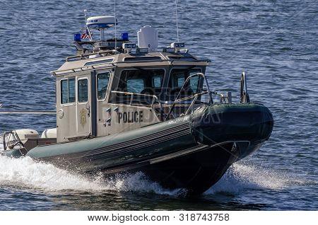 New Bedford, Massachusetts, Usa - August 24, 2019: Massachusetts Environmental Police Patrol Boat Ne