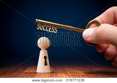 Coach Has A Key To Success - Motivation Concept. Coach (manager, Mentor, Hr Specialist) Unlock Leade