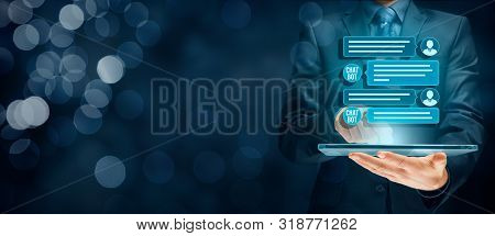 Chatbot Digital Tablet Artificial Intelligence Communication Concept. Chatbot Is New Trend In B2c Co