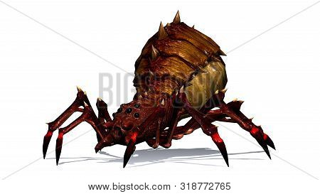 Fantasy Spider With Shadow On The Floor - Sideview From Right - Isolated On White Background - 3d Il