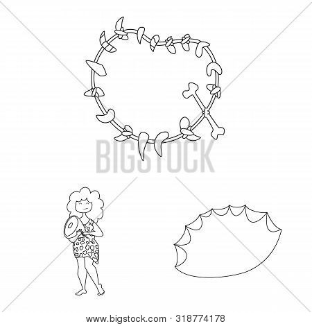 Isolated Object Of Primitive And Archeology Icon. Set Of Primitive And History Stock Vector Illustra