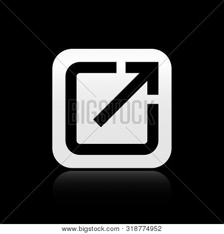 Black Open In New Window Icon Isolated On Black Background. Open Another Tab Button Sign. Browser Fr
