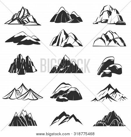 Mountain Symbols. Silhouette Mountains With Range Snow Labels, Abstract Alpen Hills. Hiking, Explori