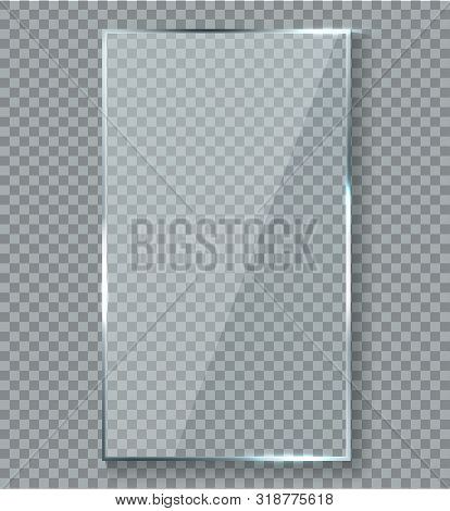 Glossy Reflection Effect. Transparency Window Glass Plastic With Brightreflections Plaque Vector Ref