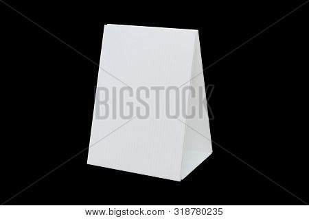 Mock Up Tent Card Or  Promotional Table Talkers Isolated On Black Background With Clipping Path