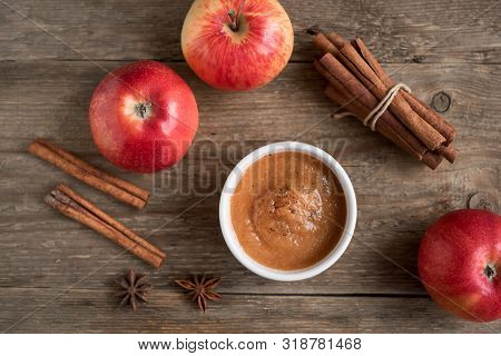 Fresh Homemade Applesauce (apple Puree, Mousse, Sauce) With Cinnamon And Apples On Wooden Table, Cop