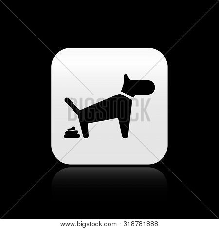 Black Dog Pooping Icon Isolated On Black Background. Dog Goes To The Toilet. Dog Defecates. The Conc