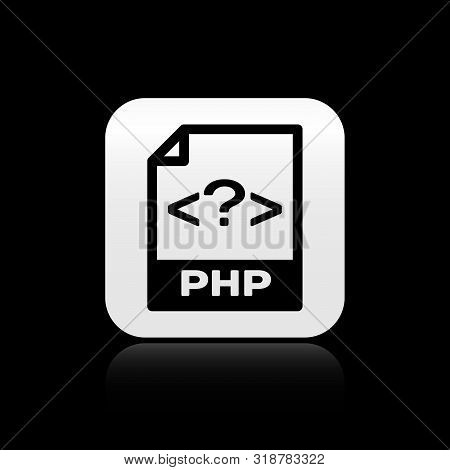 Black Php File Document. Download Php Button Icon Isolated On Black Background. Php File Symbol. Sil