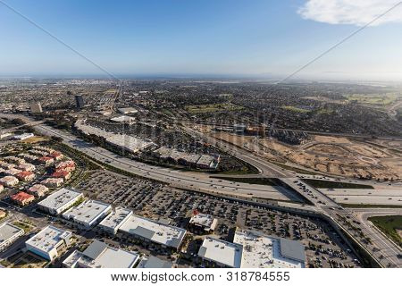 Aerial view of North Oxnard Blvd crossing the Ventura 101 Freeway in Ventura County, California.