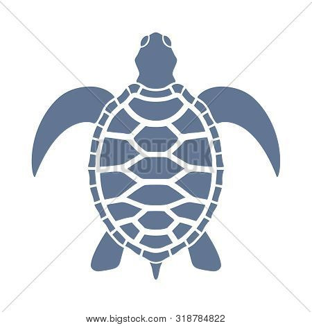 Sea Turtle Graphic Icon. Sea Turtle Blue Sign Isolated On White Background. Vector Illustration