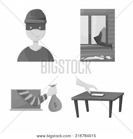 Isolated Object Of Pickpocket And Fraud Symbol. Collection Of Pickpocket And Steal Stock Symbol For