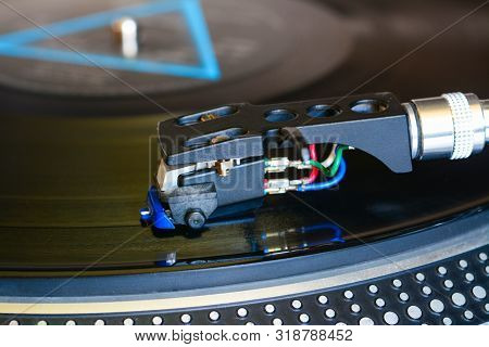 Audiophile Cartridge Mounted In Shell Played On Turntable. Vinyl Records Equipment, Macro, Close Up