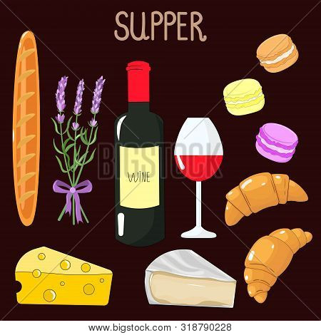 Vector Graphics. Adorable, Beautiful Cartoon Set With French Food. Wine, Cheese, Brie Cheese, Baguet