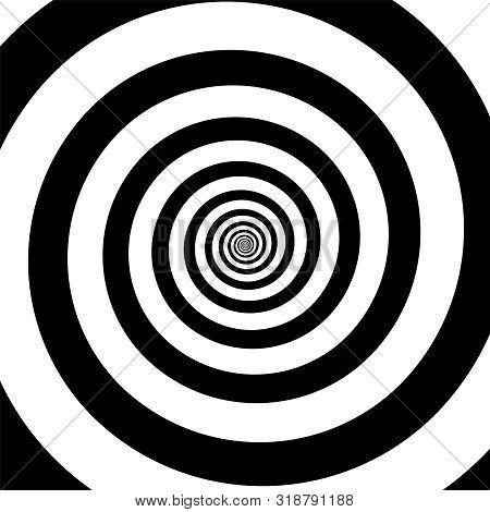 Spiral Illusion Black And White Circular Rotation Effect. Vector Illustration