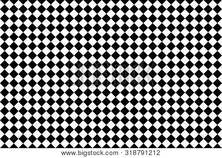 Diamond Seamless Background Black And White Texture. Vector Chess Pattern