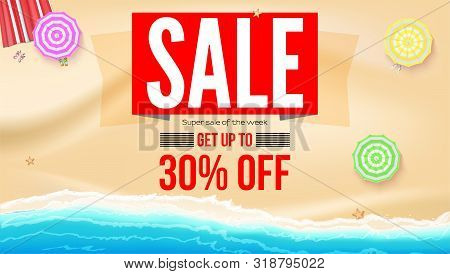 Sale, Get Up To 30 Percent Discount. Supper Sale Of The Week. Seashore With Sun Umbrellas On Yellow