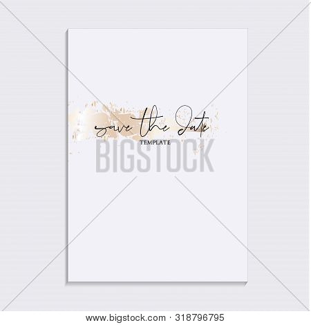Tender Soft Gold Design. Wedding Save The Date Invitation Cards With Luxury Gold Marble Texture Back