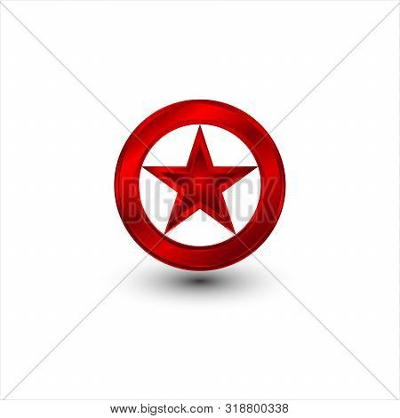 Red Star Icon Decorated With A Circle. Star Icon, Star Icon, Star Icon Vector, Star Icon Image, Star